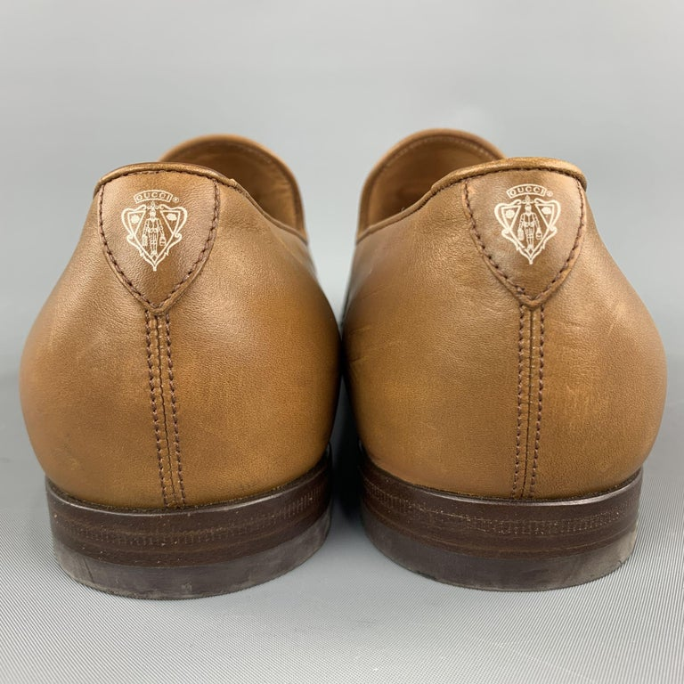 Men's GUCCI Size 11 Tan Solid Leather Tassel Slip On Loafers For Sale