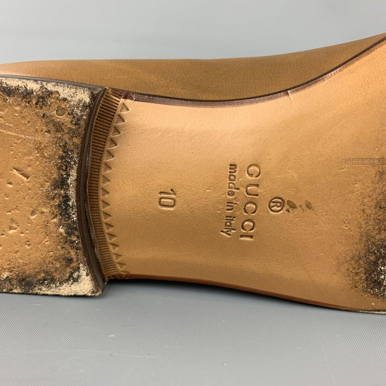 GUCCI Size 11 Tan Solid Leather Tassel Slip On Loafers For Sale 2