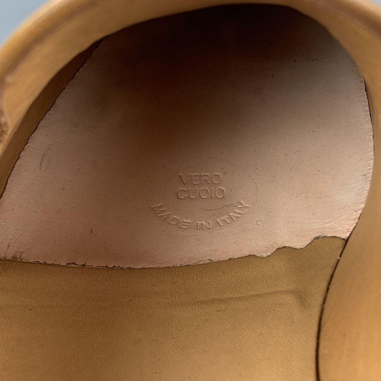 GUCCI Size 11 Tan Solid Leather Tassel Slip On Loafers For Sale 4