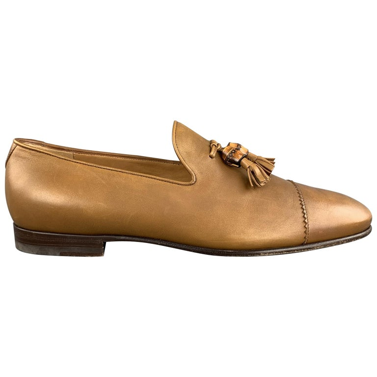 GUCCI Size 11 Tan Solid Leather Tassel Slip On Loafers For Sale