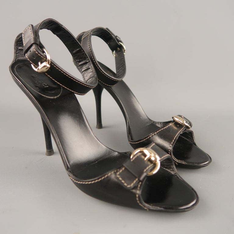 GUCCI Size 12 Black Leather Ankle Strap Gold Buckle Sandals In Excellent Condition For Sale In San Francisco, CA
