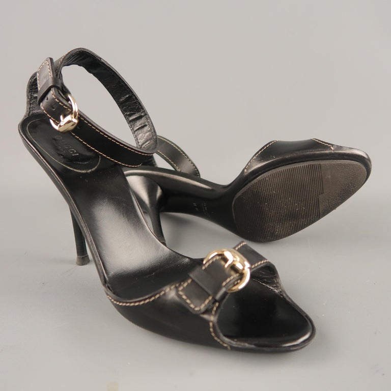 Women's  GUCCI Size 12 Black Leather Ankle Strap Gold Buckle Sandals For Sale