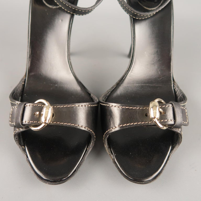 GUCCI Size 12 Black Leather Ankle Strap Gold Buckle Sandals For Sale 1