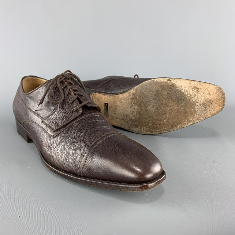 Men's GUCCI Size 12 Brown Textured Leather Cap Lace Up Dress Shoes For Sale