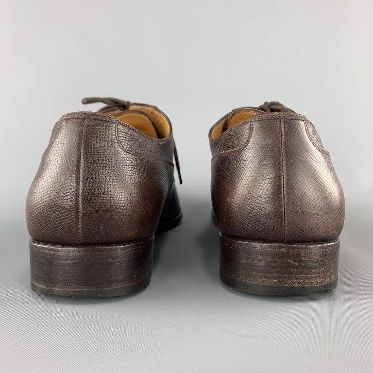 GUCCI Size 12 Brown Textured Leather Cap Lace Up Dress Shoes For Sale 1