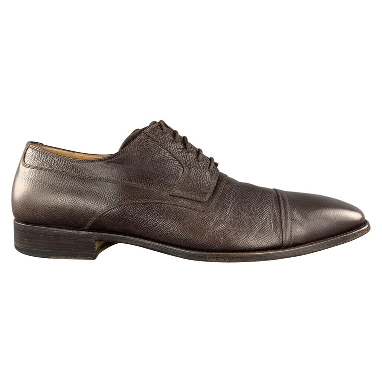 GUCCI Size 12 Brown Textured Leather Cap Lace Up Dress Shoes For Sale