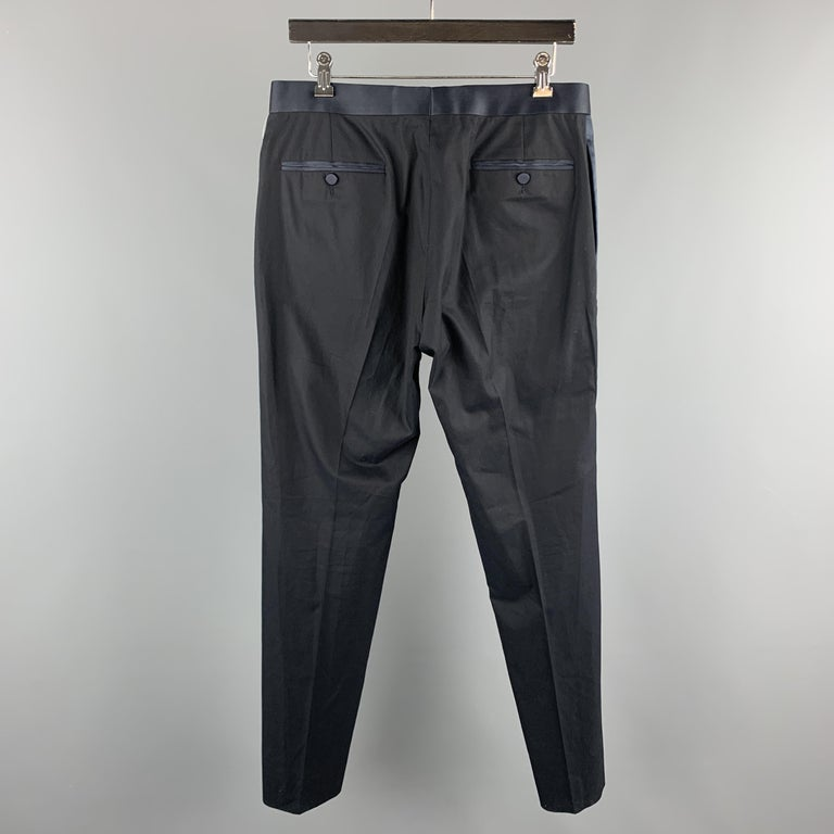 GUCCI Size 32 Navy Solid Cotton Tuxedo Dress Pants In Excellent Condition For Sale In San Francisco, CA