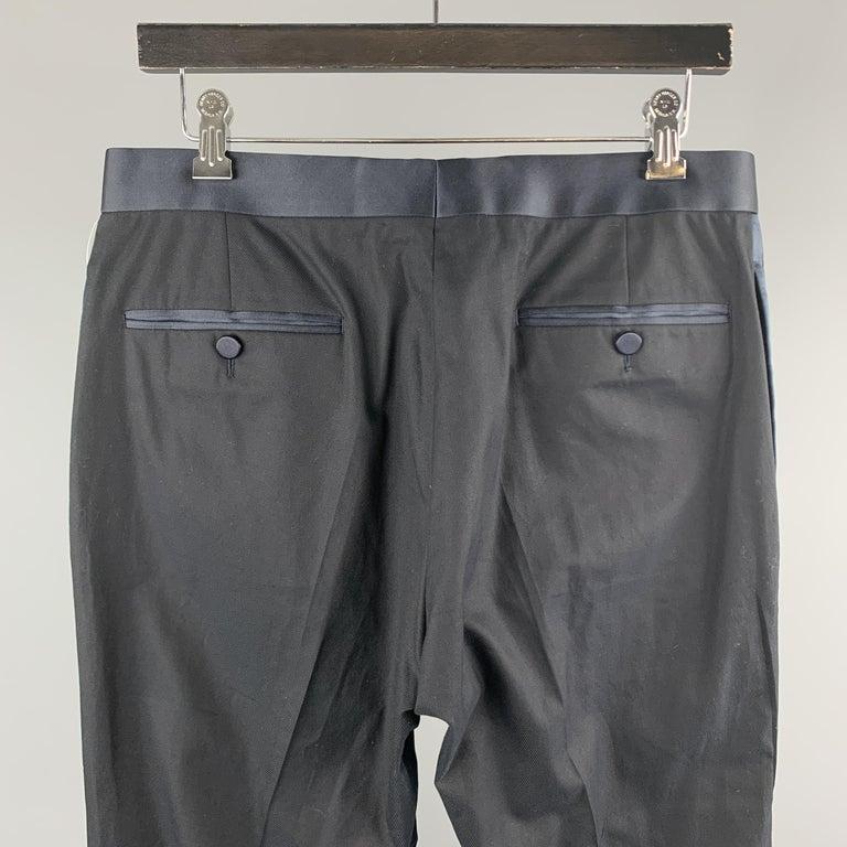 Men's GUCCI Size 32 Navy Solid Cotton Tuxedo Dress Pants For Sale