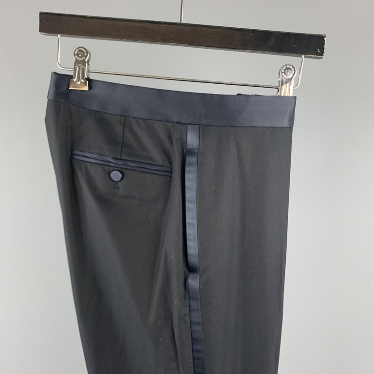 GUCCI Size 32 Navy Solid Cotton Tuxedo Dress Pants For Sale 2