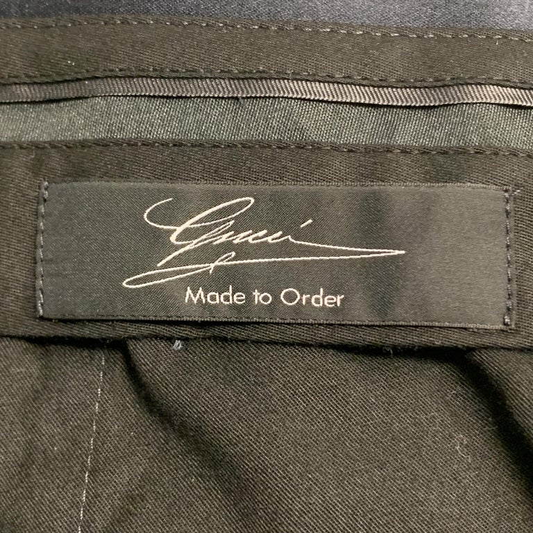 GUCCI Size 32 Navy Solid Cotton Tuxedo Dress Pants For Sale 3