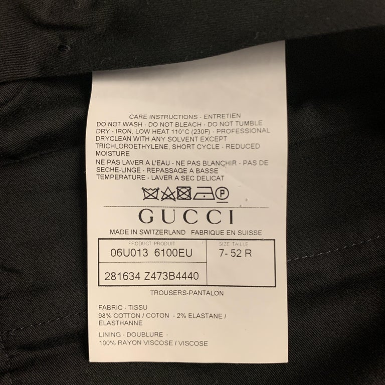 GUCCI Size 32 Navy Solid Cotton Tuxedo Dress Pants For Sale 4