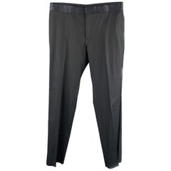 GUCCI Size 32 Navy Solid Cotton Tuxedo Dress Pants
