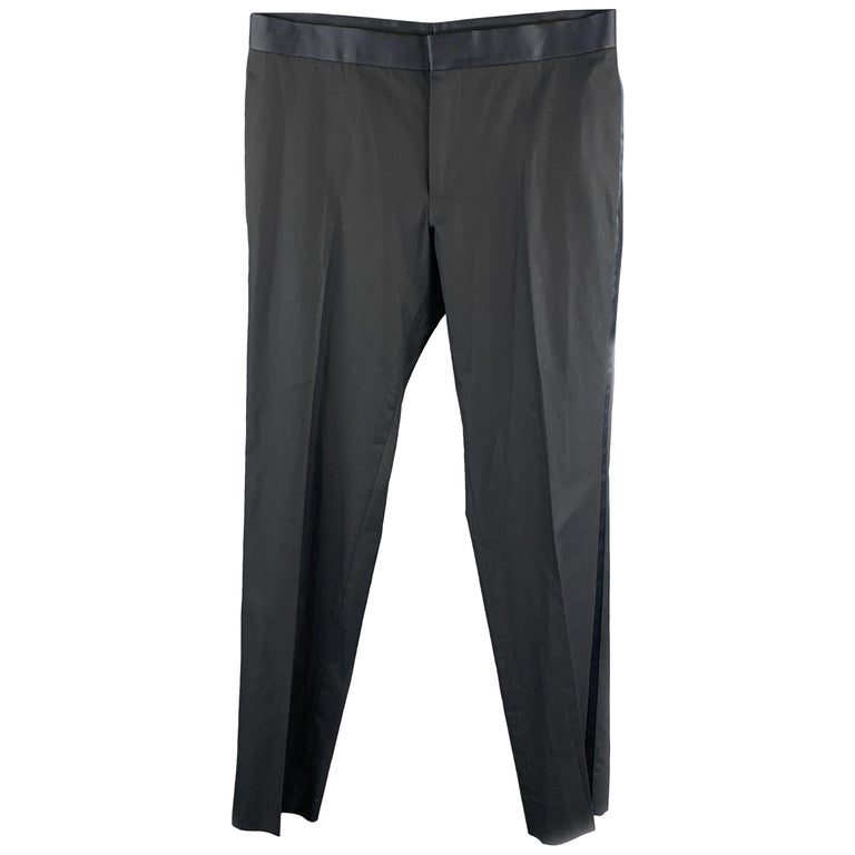 GUCCI Size 32 Navy Solid Cotton Tuxedo Dress Pants For Sale