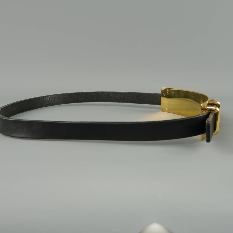 Gucci Black Leather Gold Metal Plate Buckle Belt For Sale 2