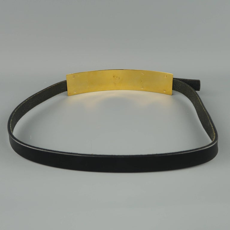Gucci Black Leather Gold Metal Plate Buckle Belt For Sale 3