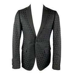 GUCCI Size 38 Regular Black on Black Circles Cotton / Silk Tuxedo Sport Coat