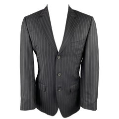GUCCI Size 38 Regular Black Stripe Wool Notch Lapel Suit
