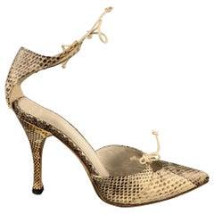 GUCCI Size 4 Beige Snake Skin Ankle Strap Pumps