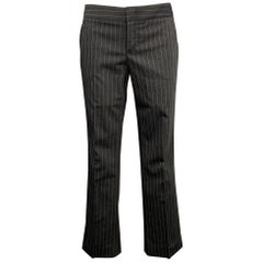 GUCCI Size 4 Charcoal Wool Blend Pinstripe Straight Leg Dress Pants