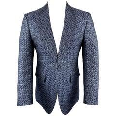 GUCCI Size 40 Blue Cotton / Silk Floral Jacquard Notch Lapel Sport Coat