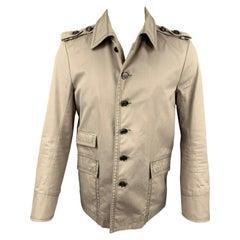 GUCCI Size 40 Khaki Cotton Epaulettes Buttoned Jacket
