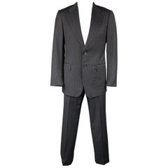 GUCCI Size 42 Regular Black Stripe Wool Notch Lapel Suit