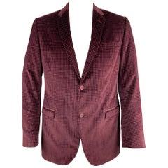 GUCCI Size 44 Long Burgundy Textured Cotton Velvet Notch Lapel Sport Coat