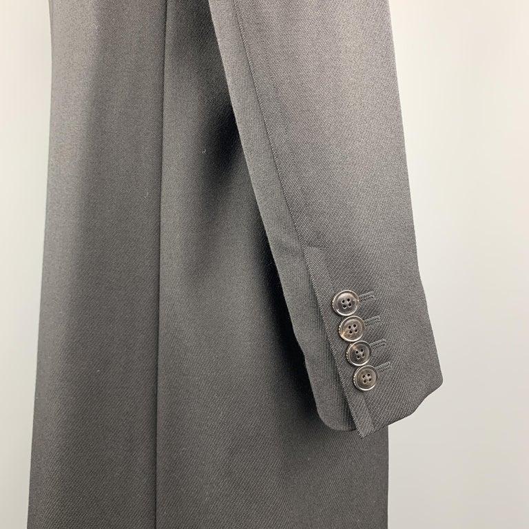 Men's GUCCI Size 46 Black Wool Velvet Collar Hidden Buttons Long Coat For Sale
