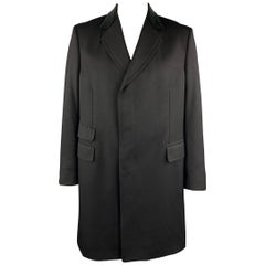 GUCCI Size 46 Black Wool Velvet Collar Hidden Buttons Long Coat