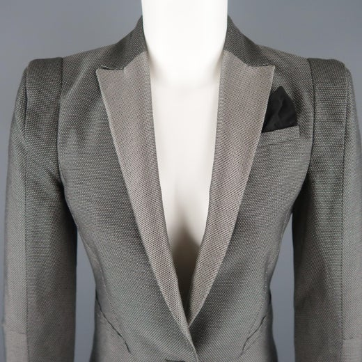 dd524d7eb GUCCI Size 6 Silver Grey Wool / Silk Nailhead Shoulder Pad Jacket For Sale  at 1stdibs