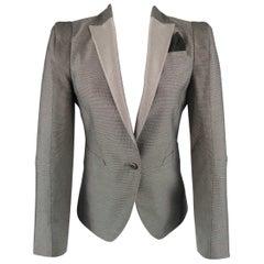 GUCCI Size 6 Silver Grey Wool / Silk Nailhead Shoulder Pad Jacket