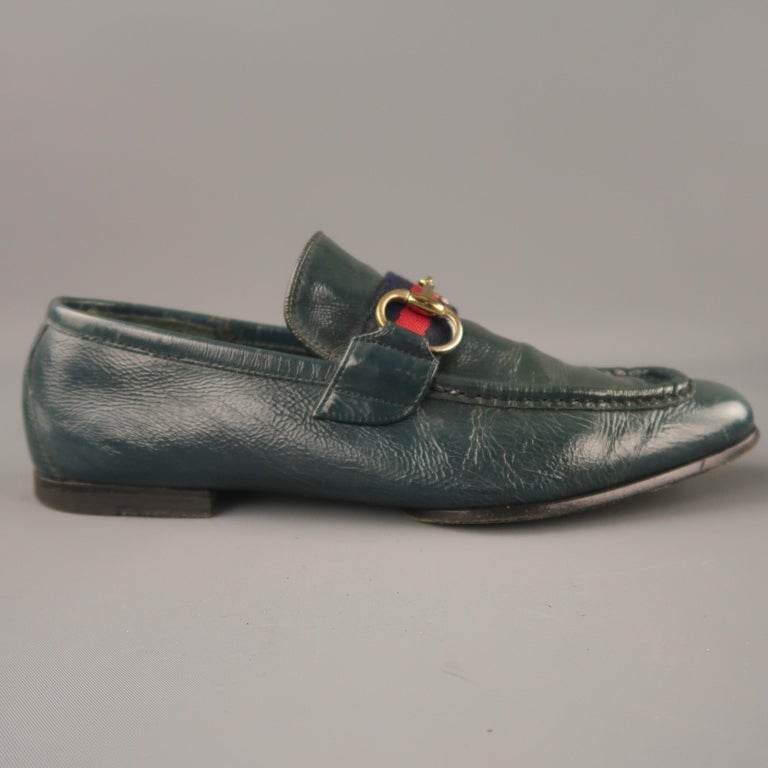 99c33023c72 GUCCI Size 7 Blue Solid Leather Slip On Loafers For Sale. GUCCI loafers  comes in a blue leather with a front blue   red trim detail featuring