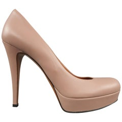 GUCCI Size 7.5 Muted Pink Leather Platform Heels Pumps