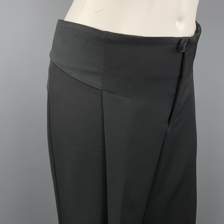 GUCCI Size 8 Black Wool Satin Elastic Waistband Wide Leg Dress Pants In Excellent Condition For Sale In San Francisco, CA