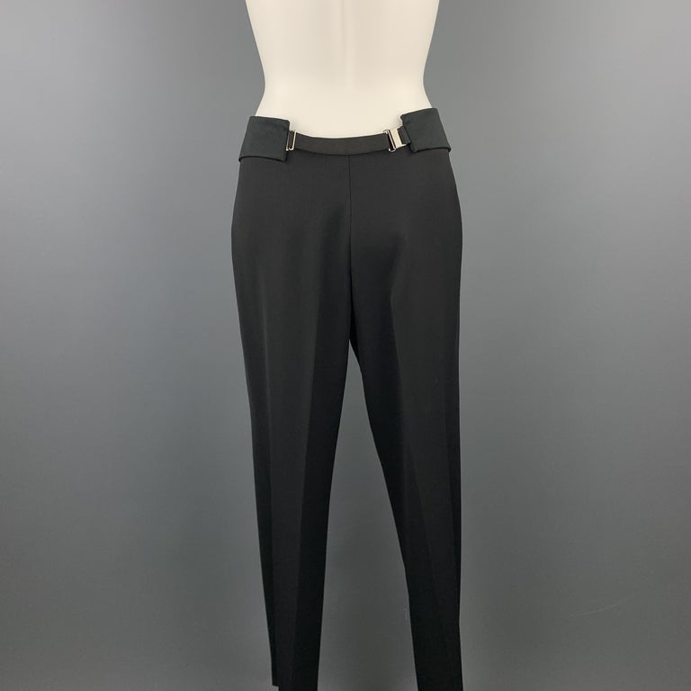 Women's GUCCI Size 8 Black Wool Satin Elastic Waistband Wide Leg Dress Pants For Sale