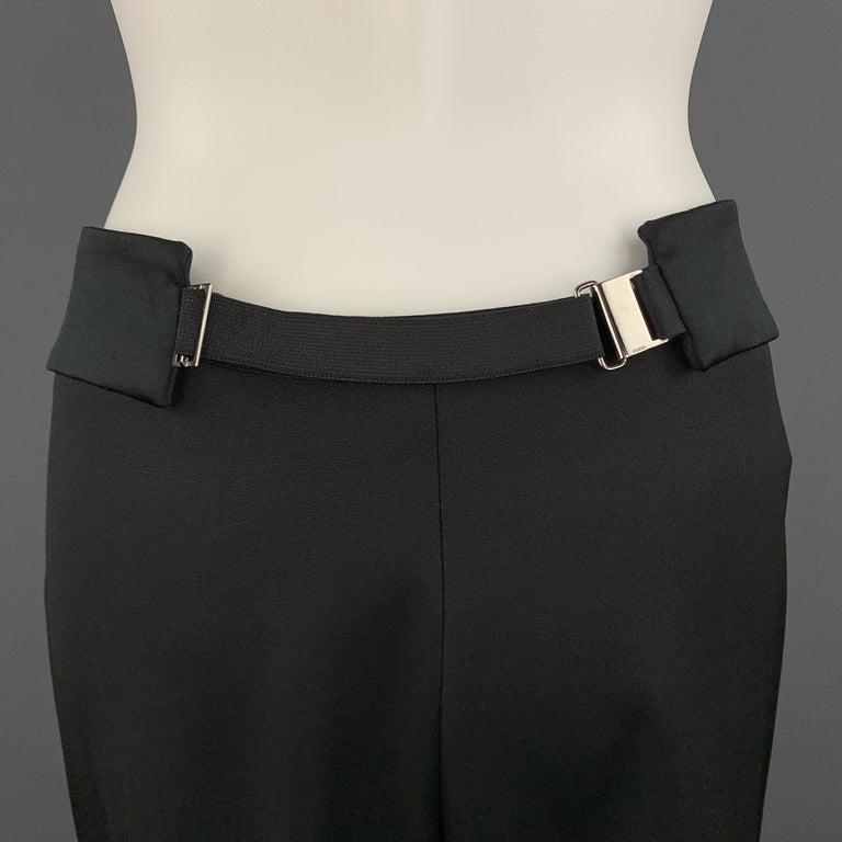 GUCCI Size 8 Black Wool Satin Elastic Waistband Wide Leg Dress Pants For Sale 1