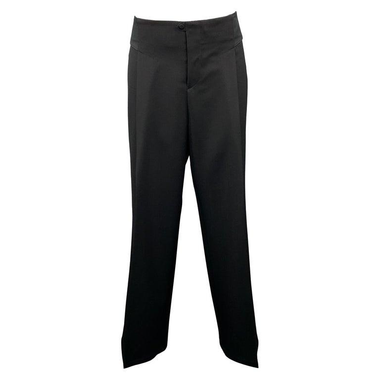 GUCCI Size 8 Black Wool Satin Elastic Waistband Wide Leg Dress Pants For Sale