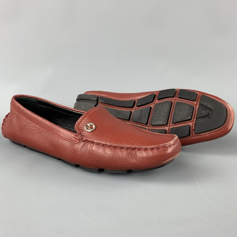Brown GUCCI Size 8 Brick Leather Pebble Grain Driver Loafers For Sale