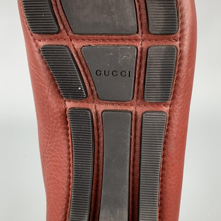 GUCCI Size 8 Brick Leather Pebble Grain Driver Loafers For Sale 3