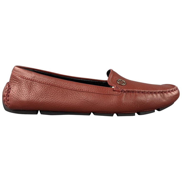 GUCCI Size 8 Brick Leather Pebble Grain Driver Loafers For Sale