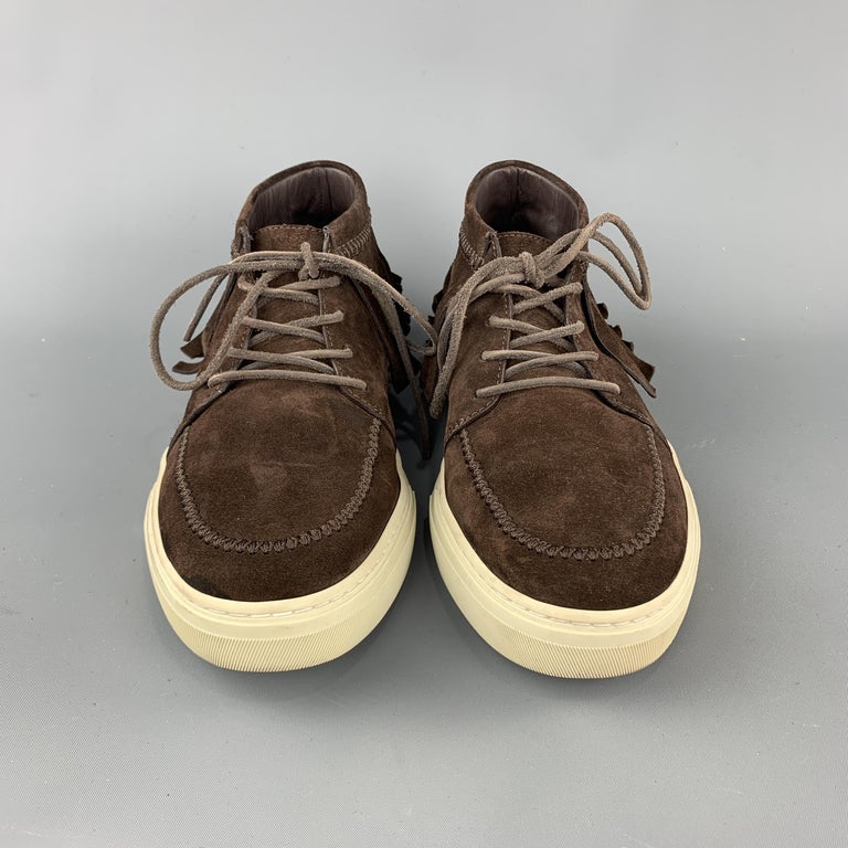 GUCCI Size 8 Brown Solid Boot Sneakers In Good Condition For Sale In San Francisco, CA