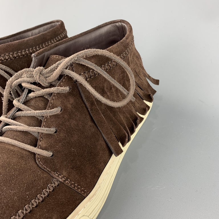 Men's GUCCI Size 8 Brown Solid Boot Sneakers For Sale