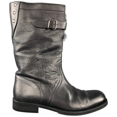 GUCCI Size 8.5 Black Leather Fur Lined Calf Boots