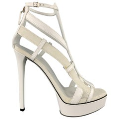 GUCCI Size 9 White Leather & Suede Strappy Platform LIFFORD MELBOURNE Sandals