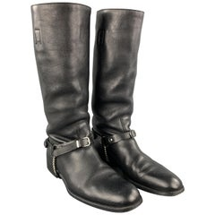 GUCCI Size 9.5 Black Solid Leather Boots