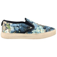 GUCCI Size 9.5 Blue Floral Blooms Monogram Canvas Slip On Sneakers