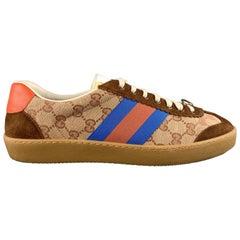 GUCCI Size 9.5 Copper Monogram Canvas & Suede Webbing Stripe G74 Sneakers