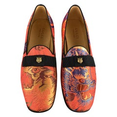 GUCCI Size 9.5 Orange Tiger Stud Silk Jacquard Bow Loafers