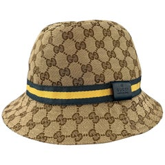 GUCCI Size L Beige Guccissima Blue & Yellow Stripe Bucket Hat