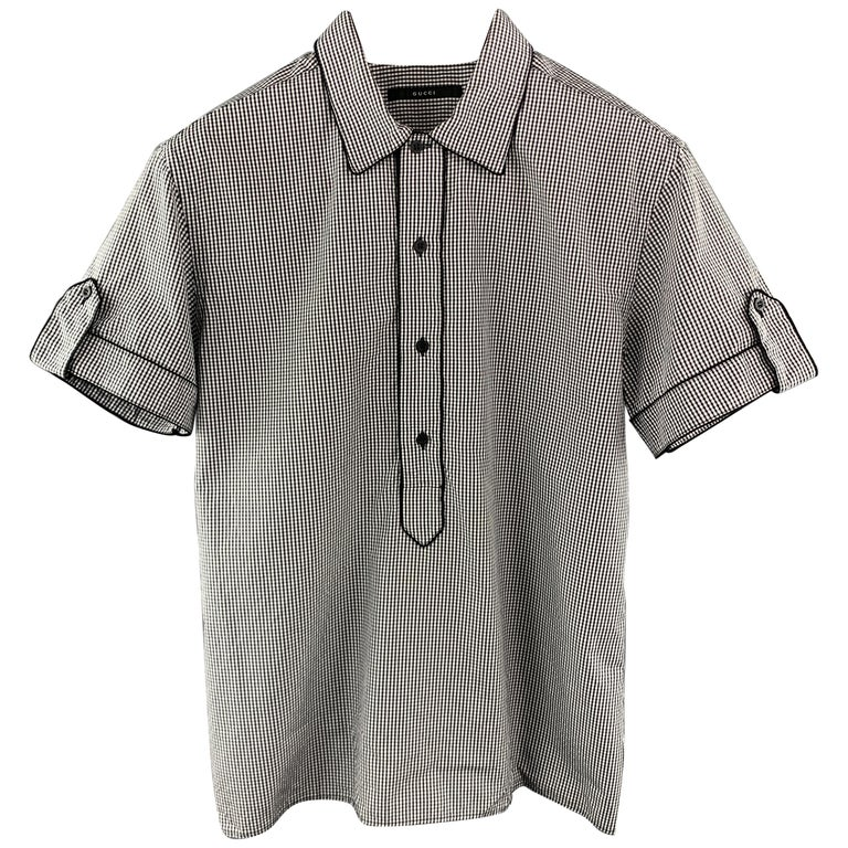 d81cb8ae5 GUCCI Size L Black & White Checkered Cotton Pop-Over Short Sleeve Shirt For  Sale
